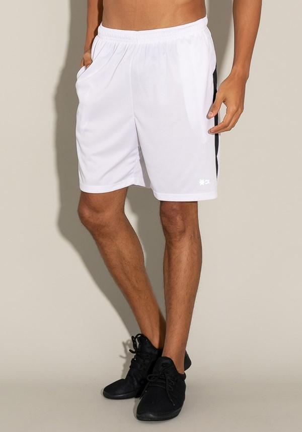 Bermuda for men com bolso e recorte lateral branco e preto