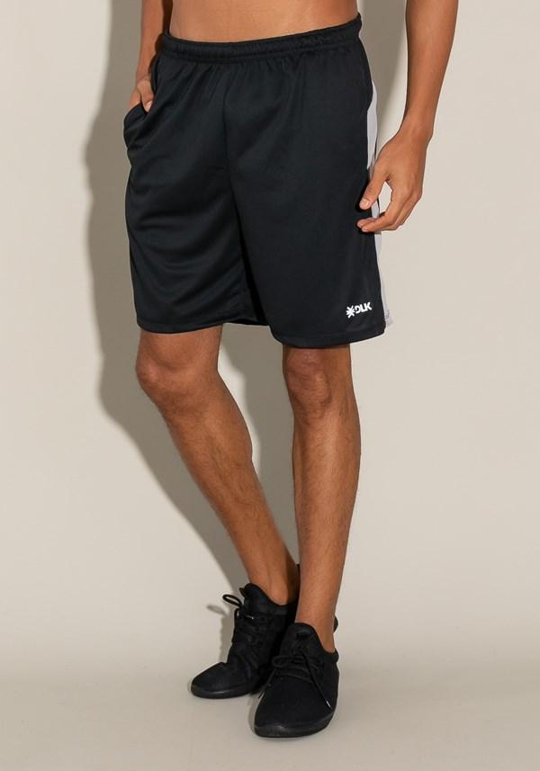 Bermuda for men com bolso e recorte lateral preto e prata