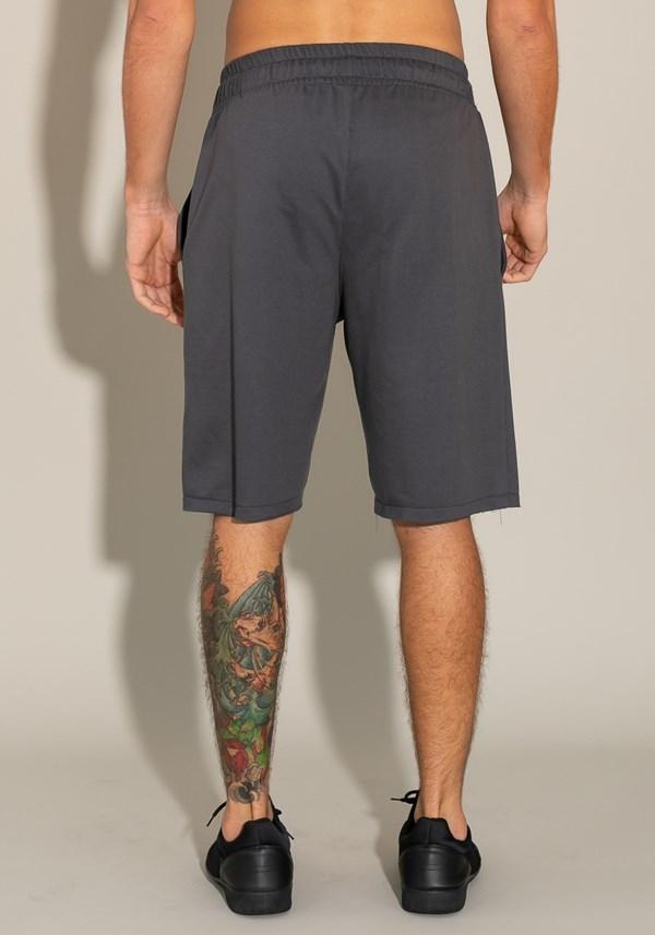 Bermuda for men moletinho com elástico e bolso lateral cinza chumbo