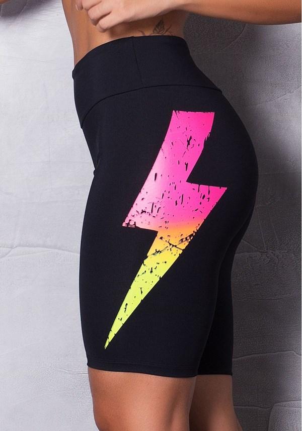 Bermuda poliamida preta com silk colors thunder