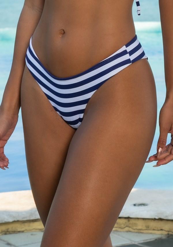 Biquini calcinha modelo ripple beach listrado azul marinho