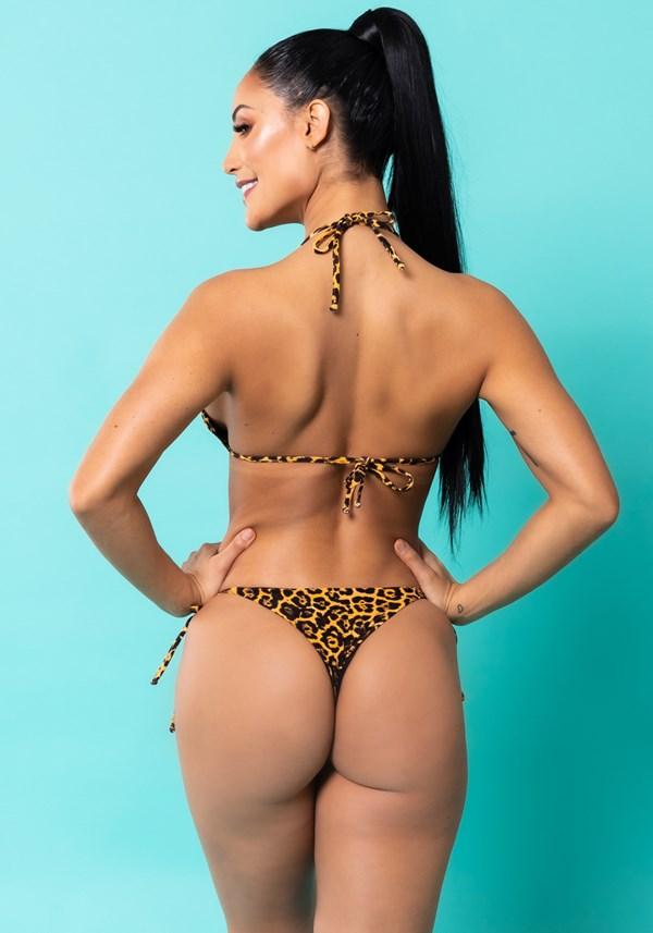 Biquíni cortininha estampado leopardo