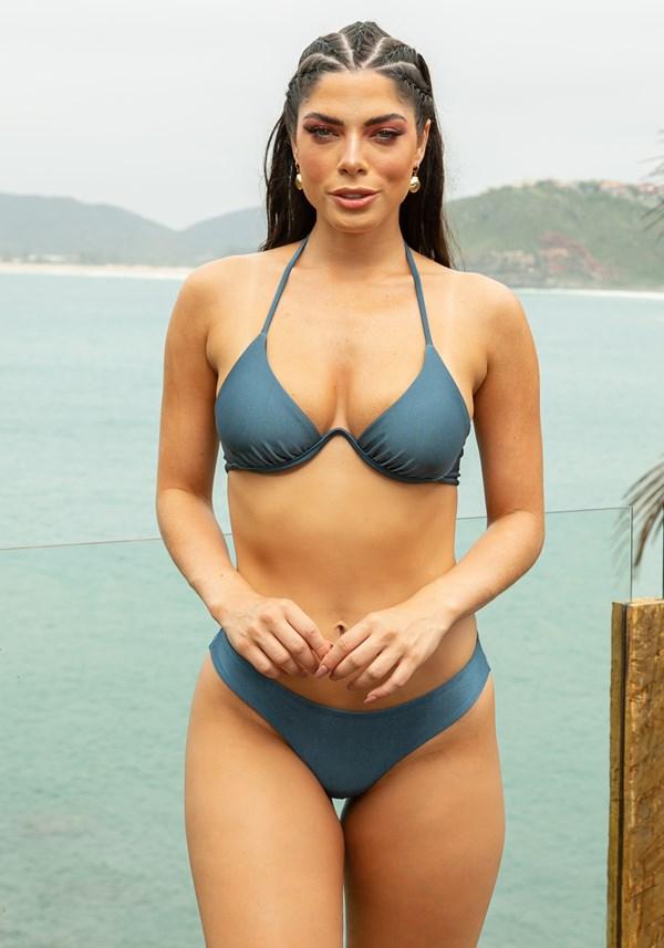 Biquini top com bojo beach aro v azul marinho