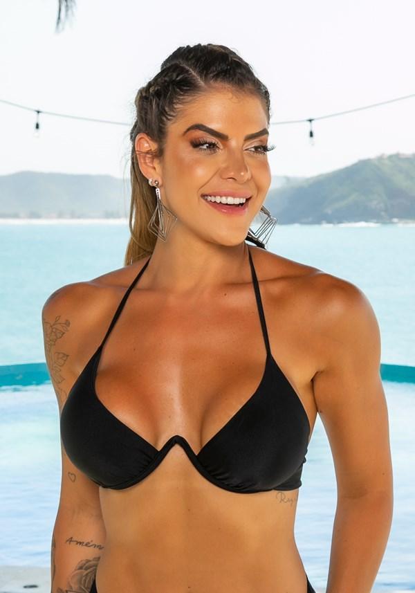 Biquini top com bojo beach aro v preto
