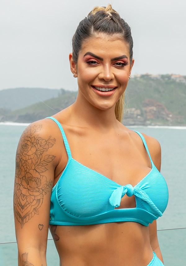 Biquini top com bojo beach laço frontal azul