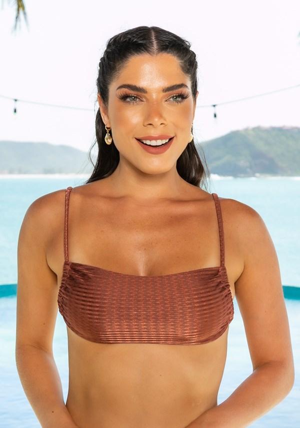 Biquini top com bojo removível beach decote reto multifuncional dourado