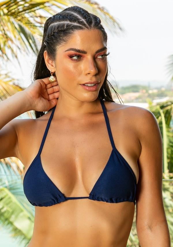 Biquini top com bojo removível beach modelo cortininha azul marinho
