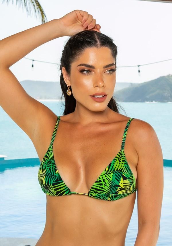 Biquini top com bojo removível beach modelo cortininha folhagem verde