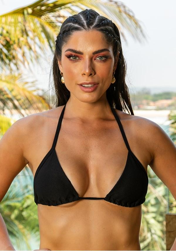 Biquini top com bojo removível beach modelo cortininha preto