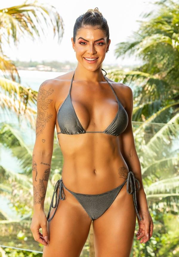 Biquini top com bojo removível modelo cortininha beach grafite