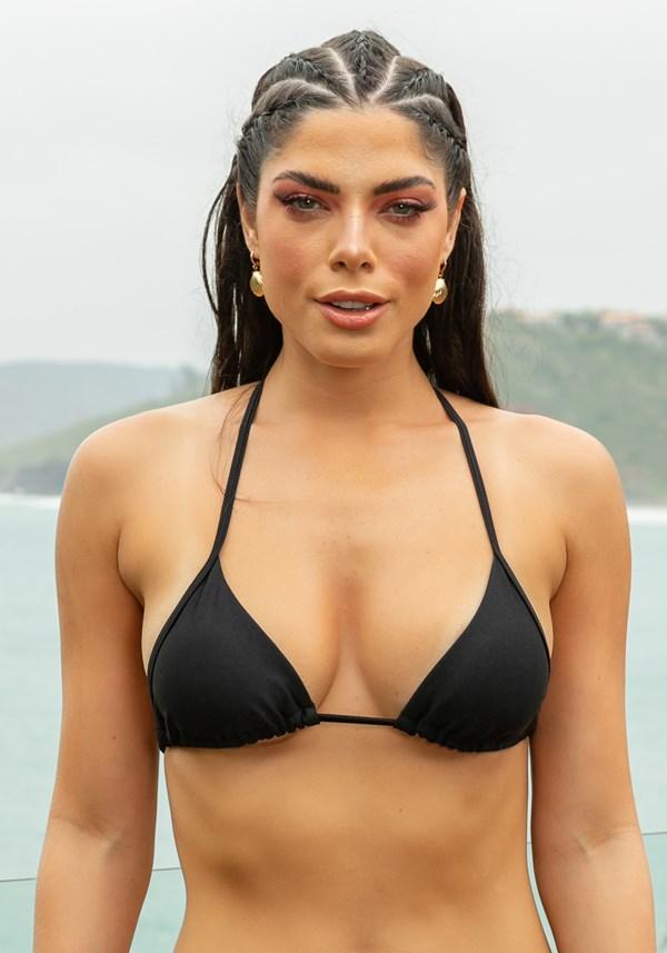 Produto Biquini top com bojo removível modelo cortininha beach preto