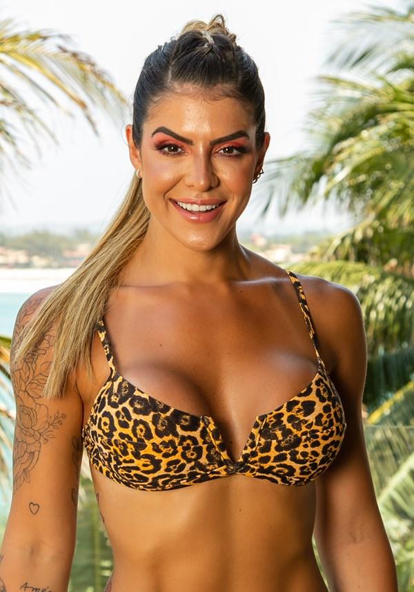 Produto Biquini top sem bojo beach decote v leopardo