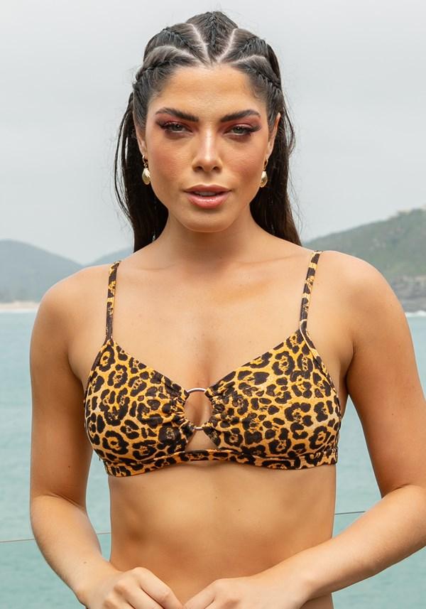 Produto Biquini top sem bojo beach detalhe em argola leopardo