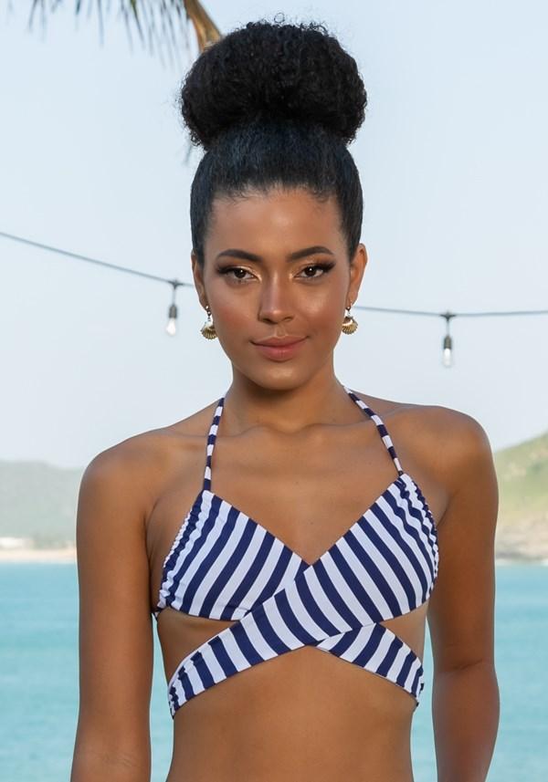 Biquini top sem bojo modelo cortinão multiuso beach listras azul marinho
