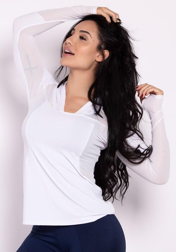 Blusa fitness branca manga longa com tule e capuz
