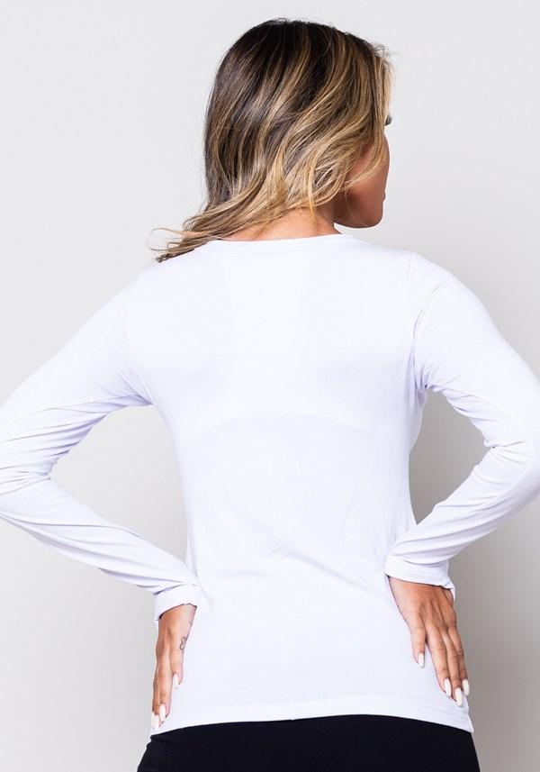 Blusa manga comprida branca com dedeira