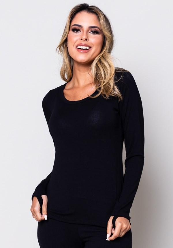 Blusa manga comprida preta com dedeira