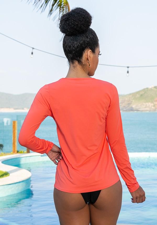 Blusa manga longa beach com proteção uv laranja