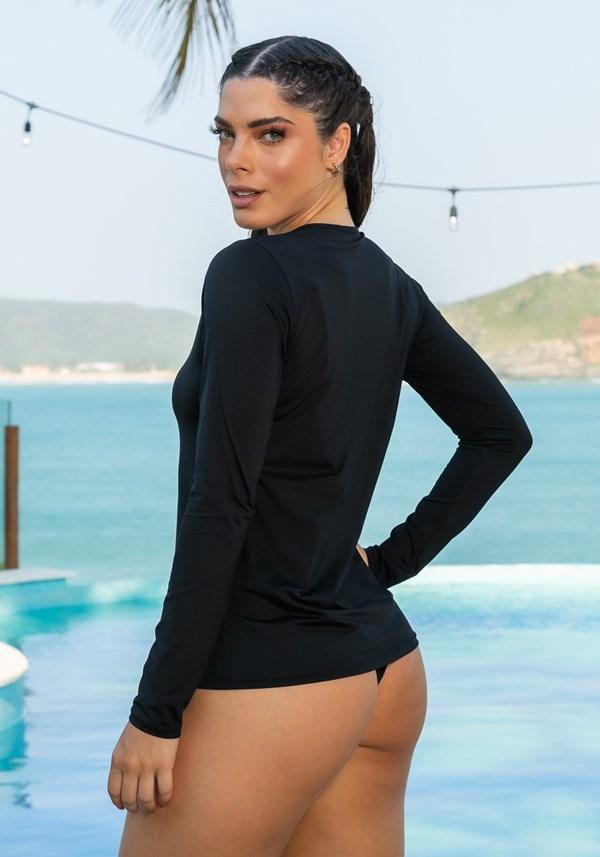 Blusa manga longa beach com proteção uv preto
