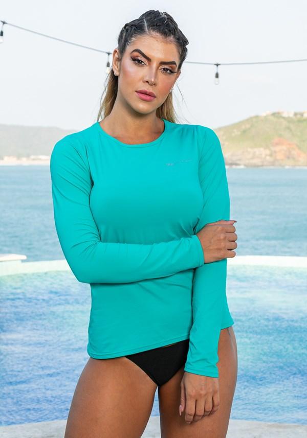 Blusa manga longa beach com proteção uv verde água