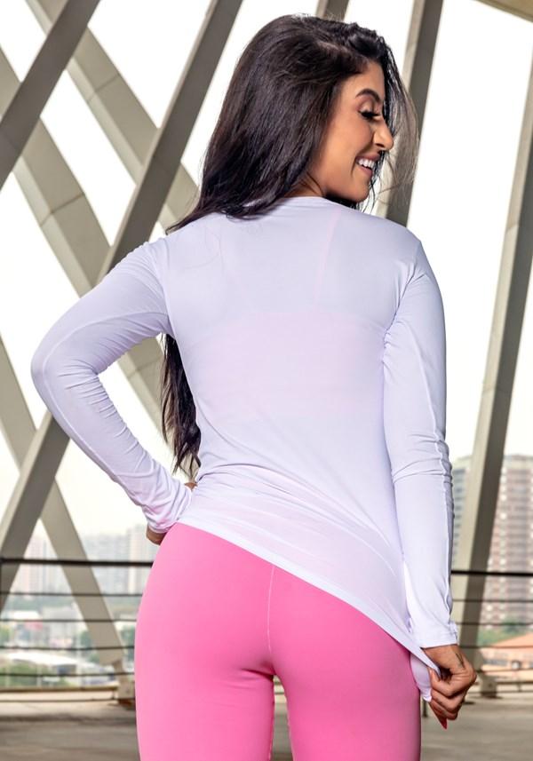 Blusa manga longa branca básica com proteção uv