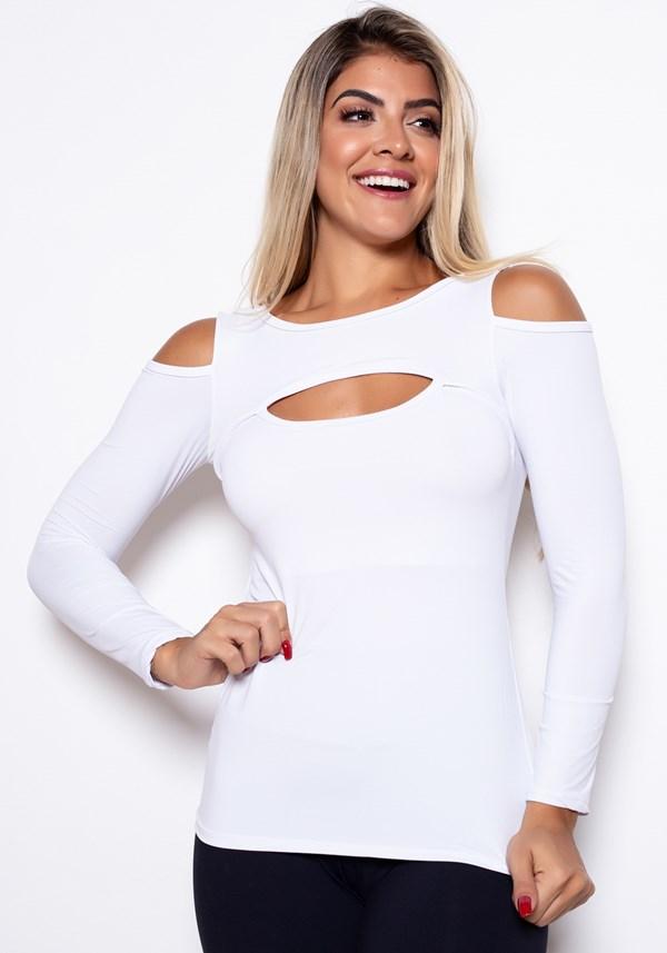 Blusa manga longa branca cut