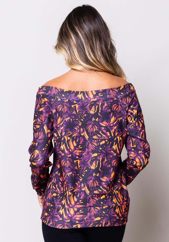 Blusa moletom estampado folhagem manga comprida