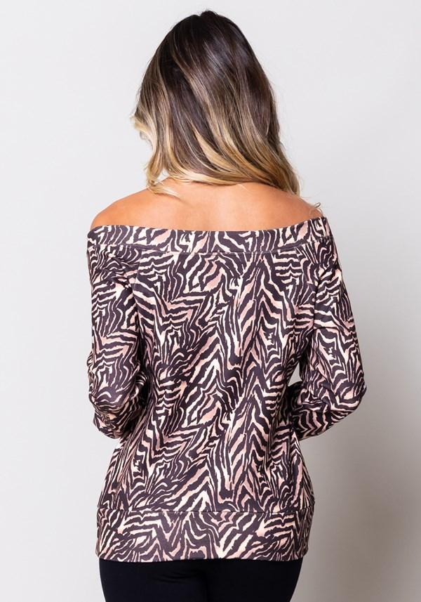 Blusa moletom estampado zebra manga comprida