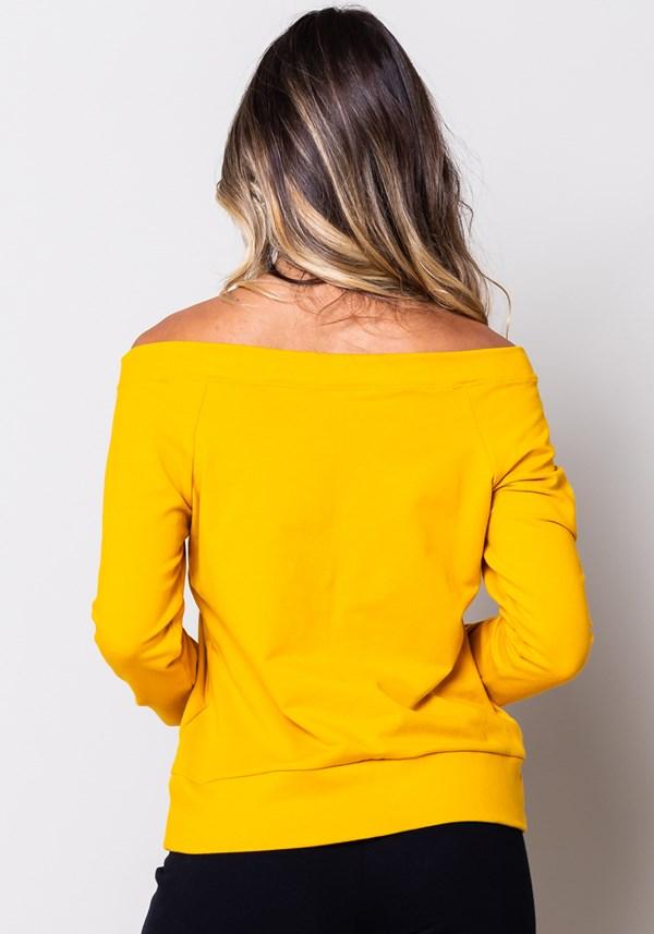Blusa moletom manga comprida amarela