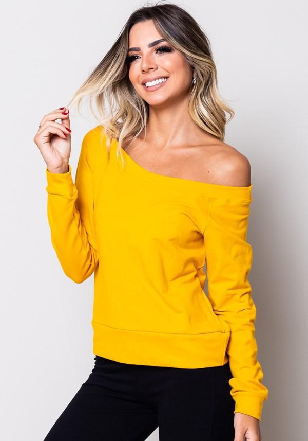 Produto Blusa moletom manga comprida amarela