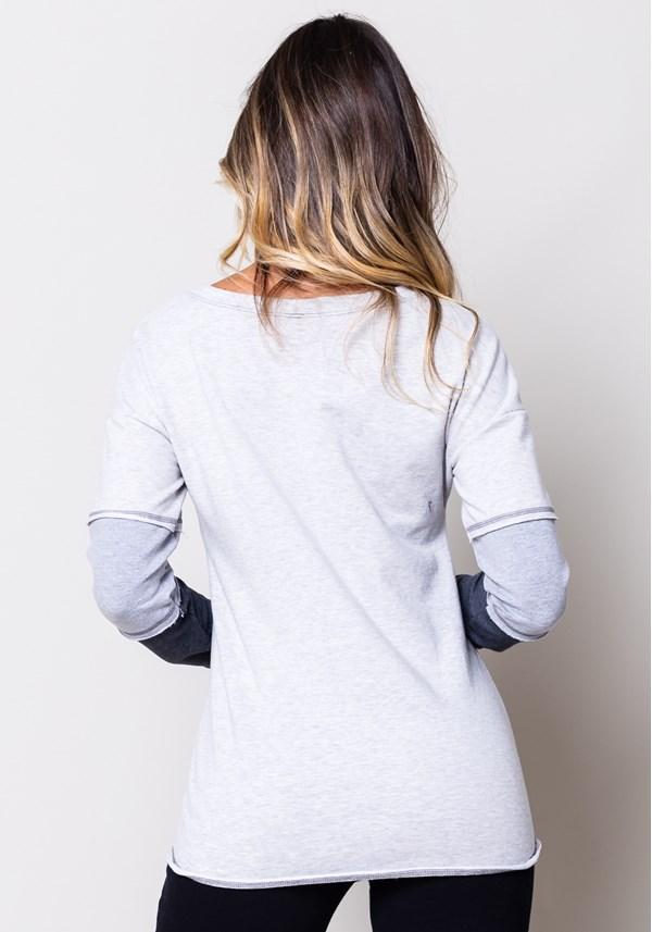 Blusa moletom mescla manga com recortes