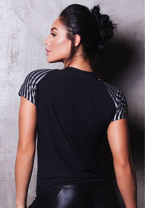 Blusa poliamida com detalhes em silk