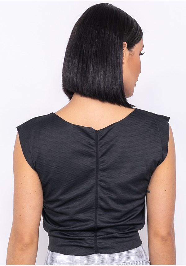 Blusa technology dupla face detalhe em laço preto