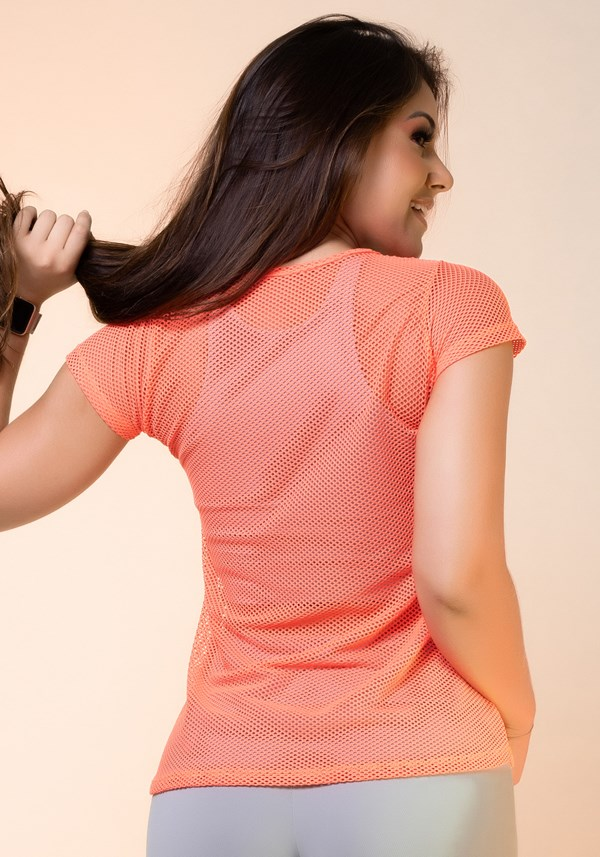 Blusa tela laranja neon básica