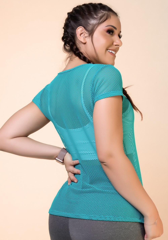 Blusa tela verde esmeralda básica