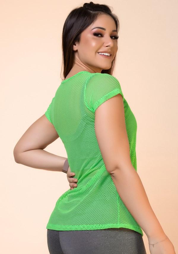 Blusa tela verde neon básica