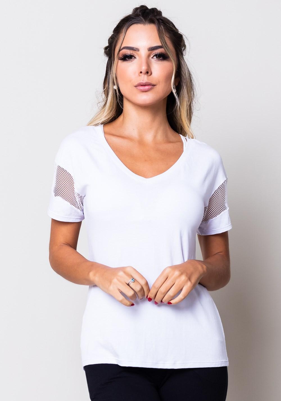 Blusa viscose branca com detalhe em tela