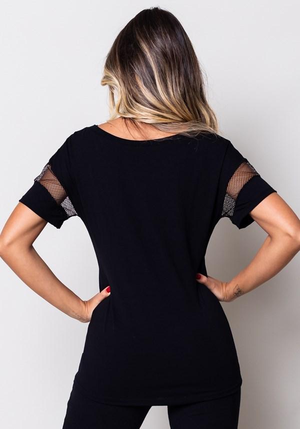 Blusa viscose preta com detalhe em tela