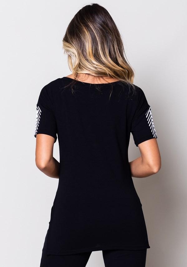 Blusa viscose preta com detalhe silk