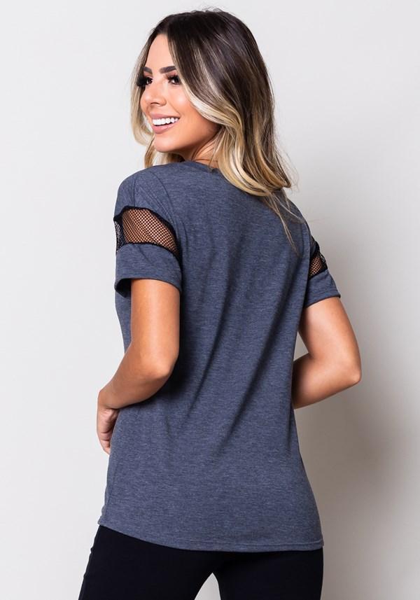 Blusa viscose warm up com detalhe em tela grafite