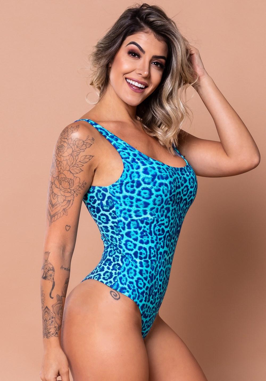 Body básico estampado onça azul