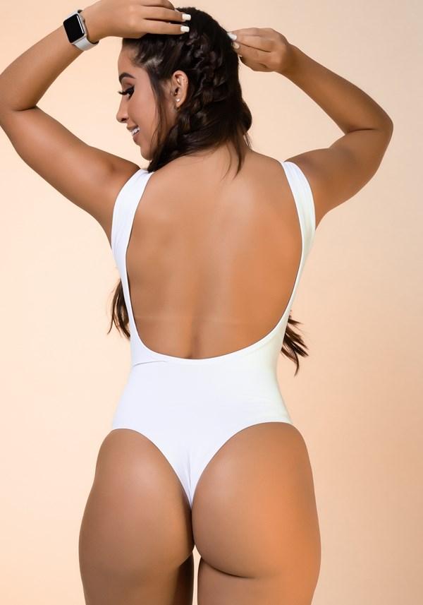 Body branco costa nua básico