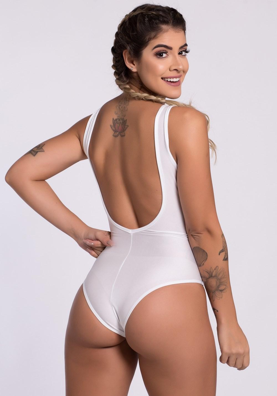 Body branco shine beach com tela