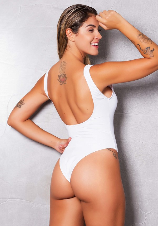 Body cavado poliamida branco silk incentive