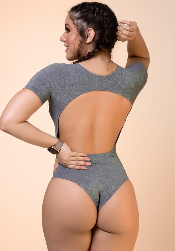 Body mescla com manga e recortes básico