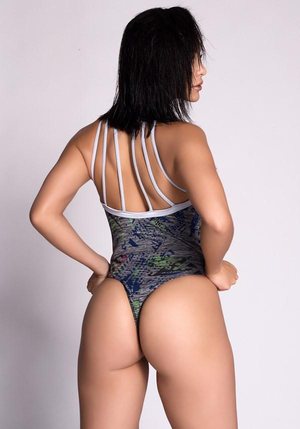 Body mescla estampado com detalhes em tiras shine