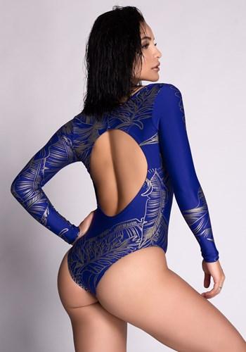 Body poliamida azul com detalhes em glitter gold