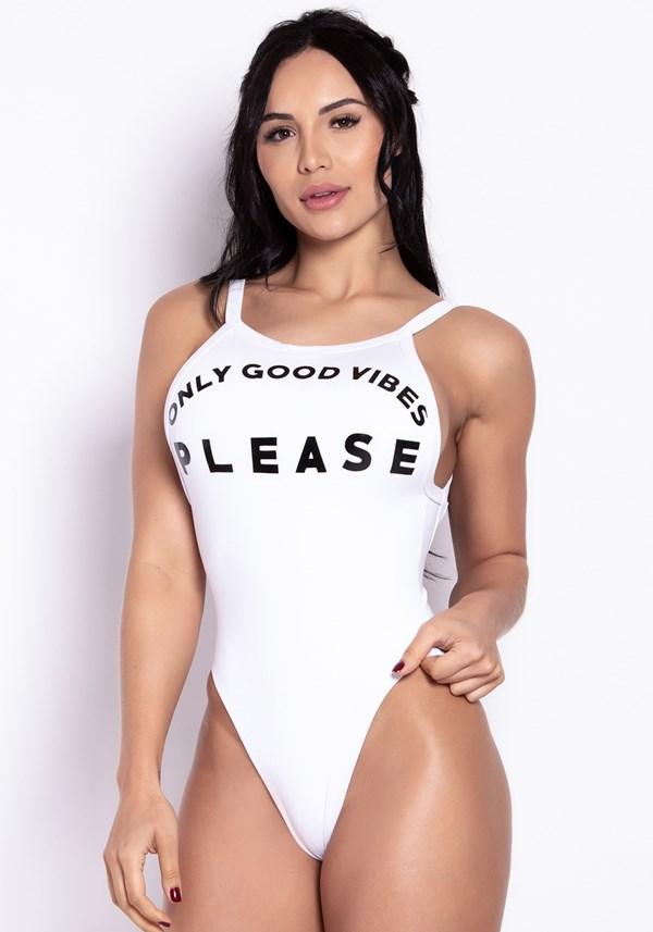 Body poliamida branco only good vibes