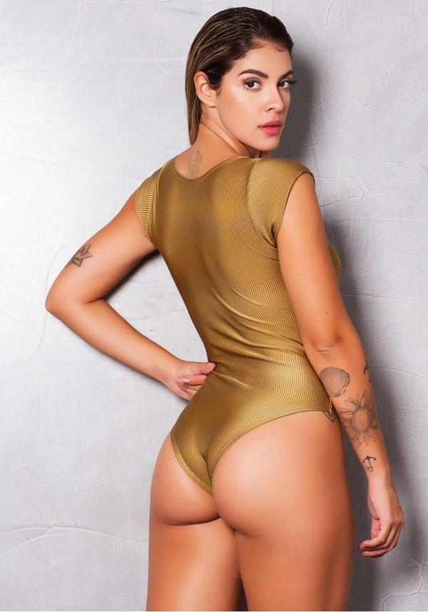Body poliamida brilho golden lines
