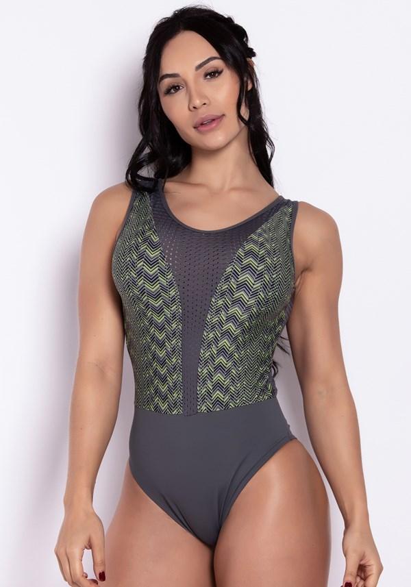 Body poliamida liso e estampado com tela lines